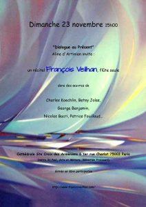 2014-11-23-affiche-concert-dialogue-au-present-aline-dartinian-george-benjamin-francois-veilhan-flutiste-paris-france